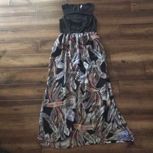 Xhilaration Black Feathered print Maxi Dress